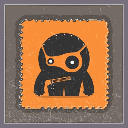 Monster on grunge postage stamp. Cartoon illustration, vector.