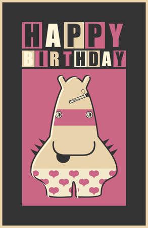 birthday invitation: Happy birthday invitation card with cute monster