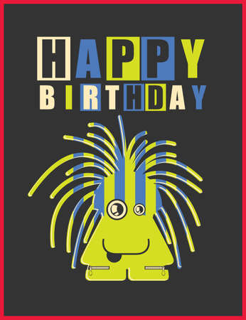 birthday cards: Happy birthday invitation card with cute monster
