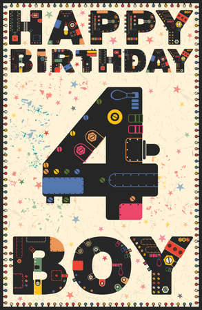 Happy Birthday Card Happy Birthday Boy 4 Years Gift Card Vector