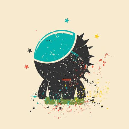 Cute monster on retro grunge background. Cartoon illustration. Vintage vector illustration.