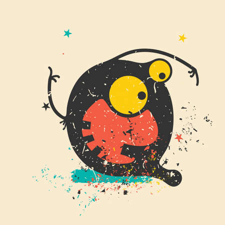 bacteria in heart: Cute monster on retro grunge background. Cartoon illustration. Vintage vector illustration