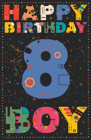 8 years birthday: Happy birthday card. Happy birthday boy 8 years. Gift card. Vector illustration