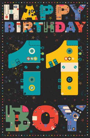 11 years: Happy birthday card. Happy birthday boy 11 years. Gift card. Vector illustration