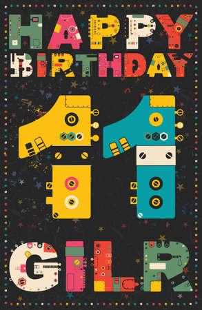 11 years: Happy birthday card. Happy birthday girl 11 years. Gift card. Vector illustration