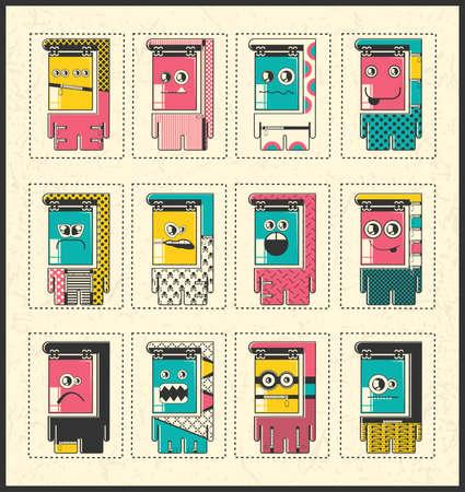 twelve: Set of twelve Monsters - vector set