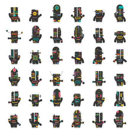 shadow face: Cute robots. Big set of different colorful robots isolated on white. Illustration