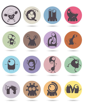 doddle: Set of sixteen retro stickers with funny monsters. Cartoon illustration. Vector set Illustration