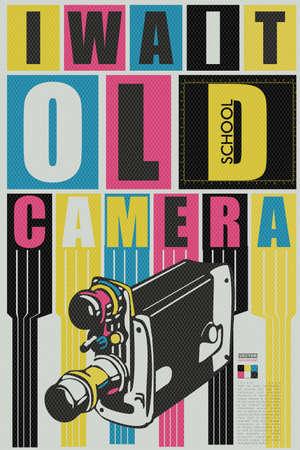 camara de cine: Espero qoute cámara vieja escuela. tarjeta, cartel, ilustración vectorial retro Vectores