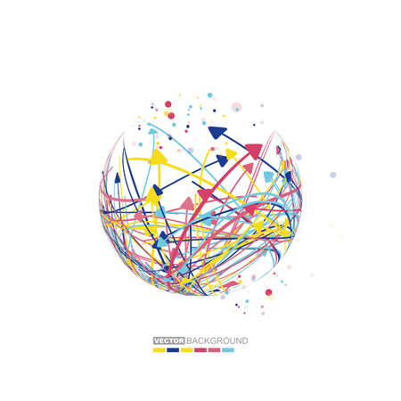 globe illustration: abstract background with arrows inside sphere. Ideas vector, vector illustration