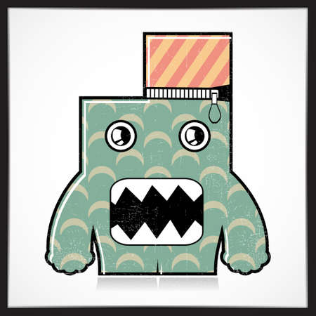 doddle: Cute colorful monster with grunge isolated on white. Cartoon illustration. vector