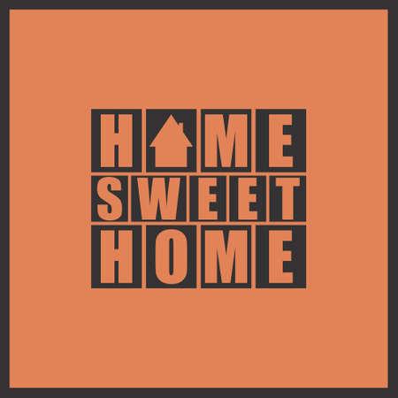 background house: Retro letters Home, Sweet Home in frame vector illustration Illustration