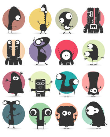 happy love: Set of sixteen stickers with cute monsters. Cartoon illustration. Vector set