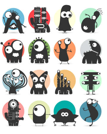 devil cartoon: Set of sixteen stickers with cute monsters. Cartoon illustration. Vector set