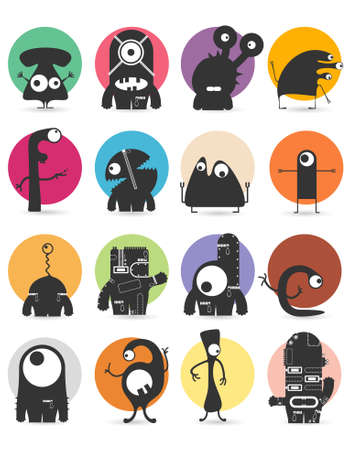 hand torn: Set of sixteen stickers with cute monsters. Cartoon illustration. Vector set
