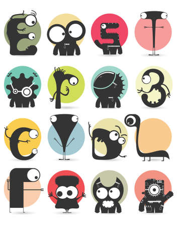 bacteria cartoon: Set of sixteen stickers with cute monsters. Cartoon illustration. Vector set