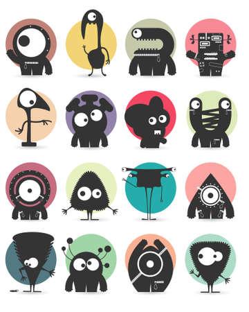cartoon: Set of sixteen stickers with cute monsters. Cartoon illustration. Vector set