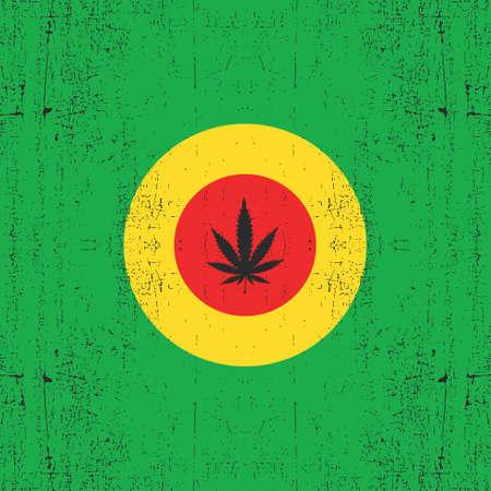 rastaman: Cannabis leaf on circle rastafarians color. Grunge background. Rastafarian flag, vector illustration