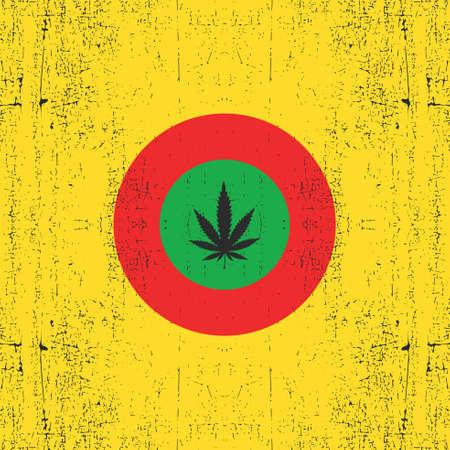 rastafarian: Cannabis leaf on circle rastafarians color. Grunge background. Rastafarian flag, vector illustration