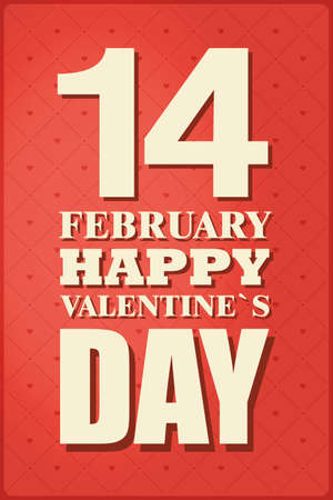 14 of february: February 14 greeting card. Decorative background with 14 February happy Valentines Day. Vector illustration