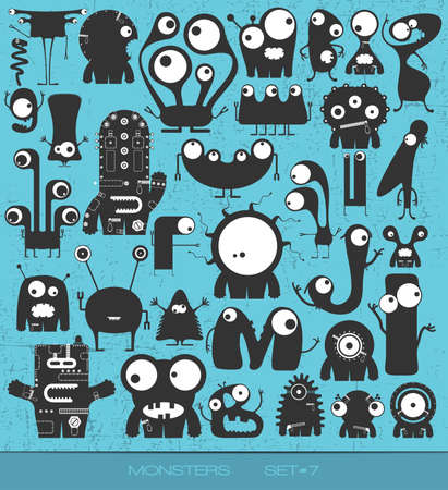 cute monsters on grunge background. vector set. cartoon illustration