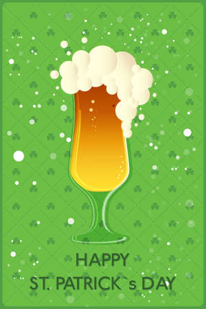 clover background: Happy St. Patricks Day banner. Glass with beer on clover background. Vector illustration Illustration