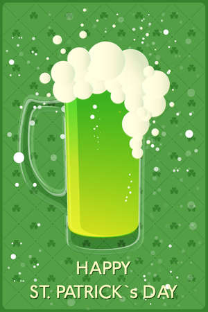 clover background: Happy St. Patricks Day banner. Glass with green beer on clover background. Vector illustration
