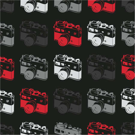 vintage camera: Seamless pattern with old camera