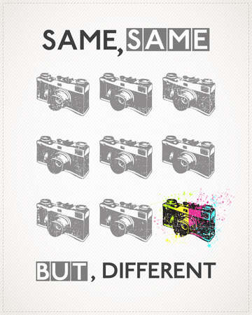 new technology: Poster with old camera and text Same, Same, but, Different. Vintage camera with grunge and dirty shapes. vector illustration Illustration