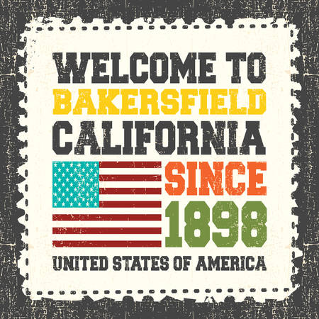 ca: Invitation card with text Welcome to Bakersfield, State California. Since 1898 with american flag on grunge postage stump. Retro card. Typography design. vector illustration