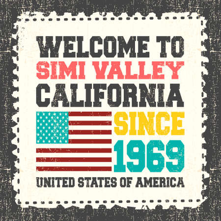 ca: Invitation card with text Welcome to Simi Valley, California. Since 1969 with american flag on grunge postage stump. Retro card. Typography design. vector illustration
