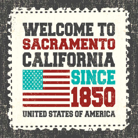 sacramento: Invitation card with text Welcome to Sacramento, State California. Since 1850 with american flag on grunge postage stump. Retro card. Typography design. vector illustration Illustration