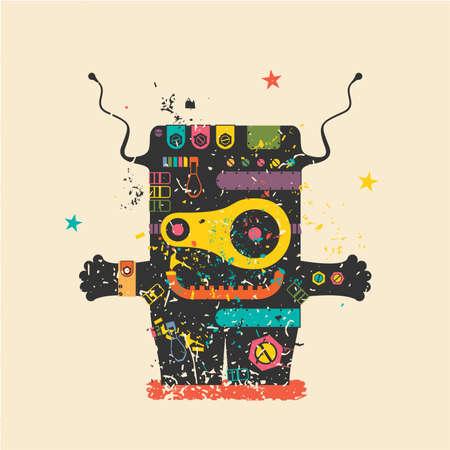 teufel engel: Nette Monster auf Retro-Grunge-Hintergrund. Cartoon Illustration. Weinlese-Vektor-Illustration Illustration