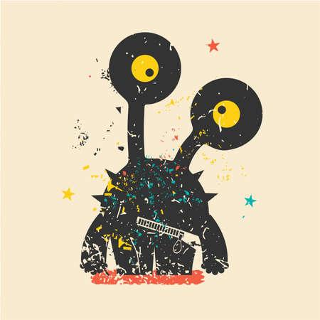 cartoon bacteria: Cute monster on retro grunge background. Cartoon illustration. Vintage vector illustration