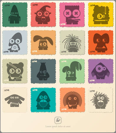 big eye cartoon: Set of retro postages stamp with funny monsters. Cartoon illustration. Vector set.