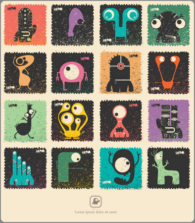 cute ghost: Set of retro postages stamp with funny monsters. Cartoon illustration. Vector set.