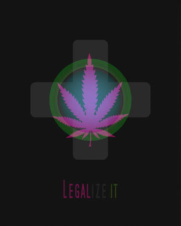 indica: Medicine marijuana leaf on cross symbol. Marijuana background Illustration
