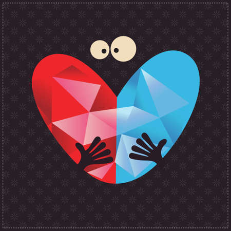 bad idea: Character hold red and blue heart in hands