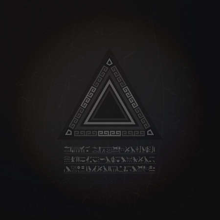 nirvana: Mystical geometrical pyramid and hyroglyphics text on grunge background, banner, magic illustration