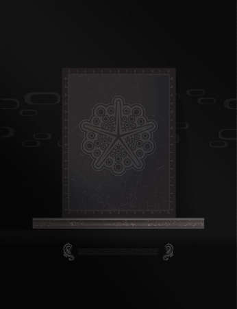 nirvana: Mystical space poster with geometrical shapes on black background, banner, magic illustration