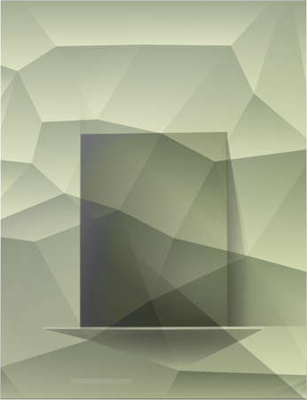 swamp: Decorative green polygonal background, a shelf with green glass for different use. Abstract polygonal background. Swamp green Rectangle glass banner with shadows. Vector illustration.