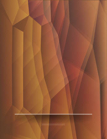 ocher: Ocher polygonal background with a shelf for different use. Abstract polygonal background. Ocher banner with shadows. Background with polygonal shapes and place for items. Vector illustration.