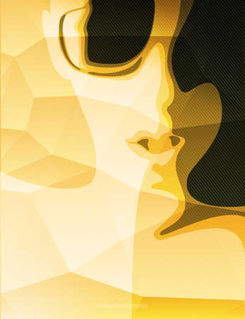 alien women: Yellow print with fashion face on it. Polygonal background print with woman. Vector illustration Illustration
