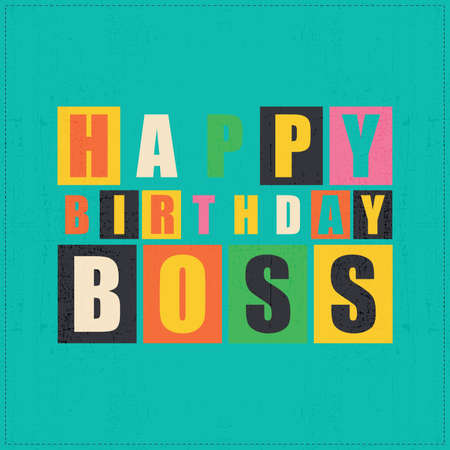 Happy Birthday Card Boss Vector Illustration Stock
