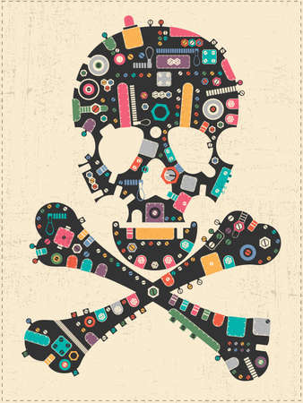 Black steam punk skull with colorful element shapes on yellow grunge background. vector illustration Vector Illustration