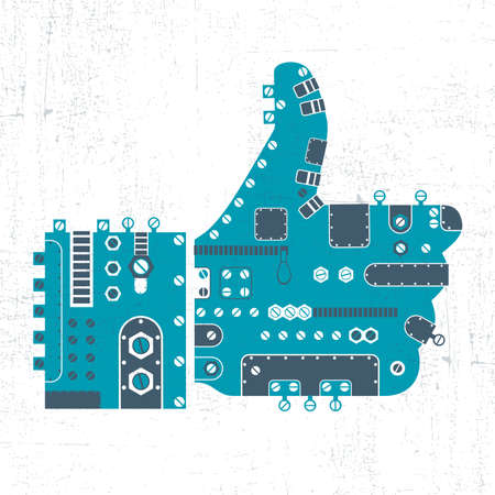 Blue up finger like, in steam punk style isolated on on white background with grunge shapes. vector illustration