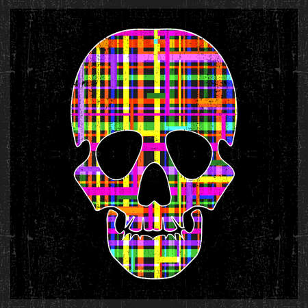 dirty teeth: Decorative skull with abstract elements on grunge black background. vector illustration