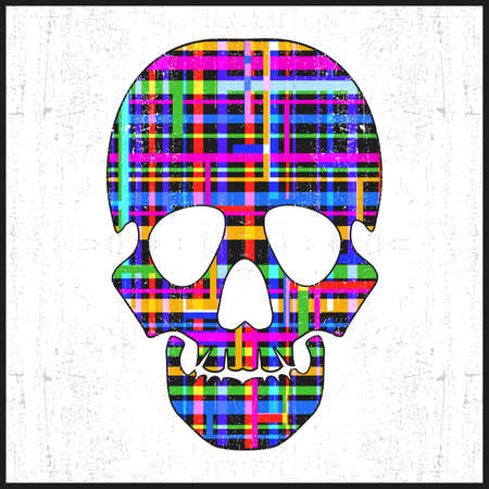 dirty teeth: Decorative skull with abstract elements on grunge white background. vector illustration