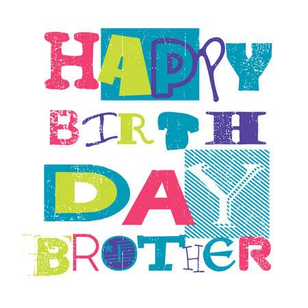 Happy Birthday Cardhappy Birthday Brother Vector Illustration