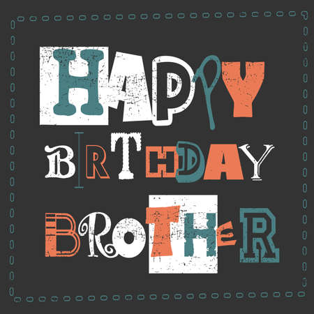 Happy Birthday Cardhappy Birthday Brother Vector Illustration